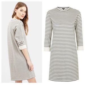 Topshop Gray & Cream Knit Striped Dress